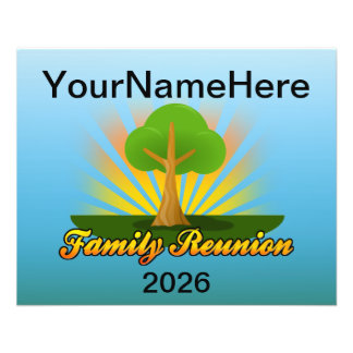 Custom Family Reunion, Green Tree with Sun Rays Flyer