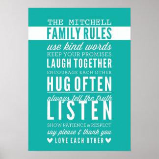 CUSTOM FAMILY RULES modern typography jade green Poster