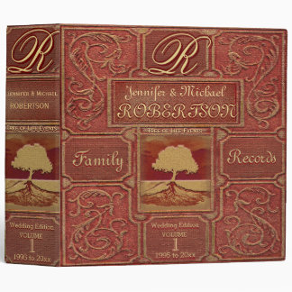 Custom Family Tree | Antique Leather Book Look 3 Ring Binders