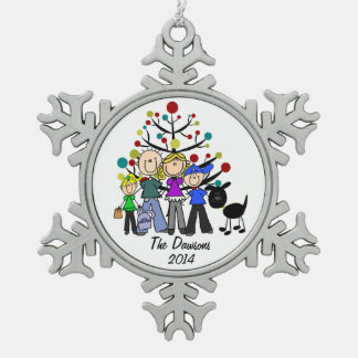 Custom Family With Black Dog Snowflake Ornament