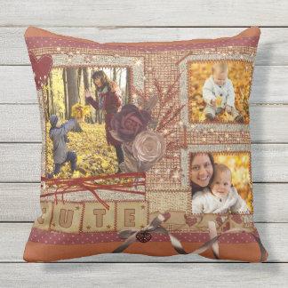 Custom Fancy Photo Frame Autumn Scrapbook Glittery Outdoor Pillow