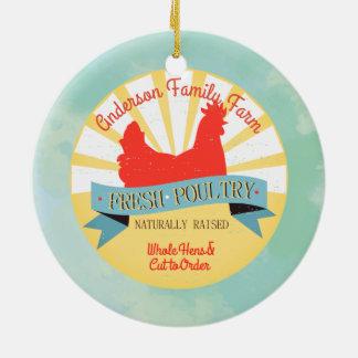 Custom farm name poultry Christmas ornament