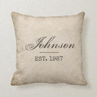 Custom Farmhouse Pillow, Your Last Name & EST Date Throw Pillow