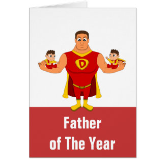 Custom father of the year cartoon card