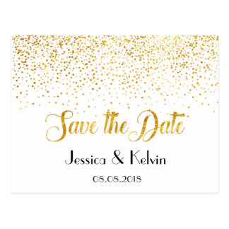 Custom Faux Gold Foil Confetti Dots Save the Date Postcard