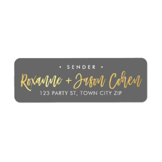 CUSTOM faux gold foil script names grey + gold Return Address Label