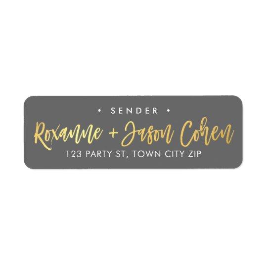 CUSTOM faux gold foil script names grey + gold Return Address Label