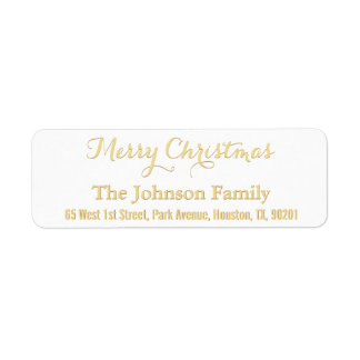 Custom Faux Gold Merry Christmas Return Address