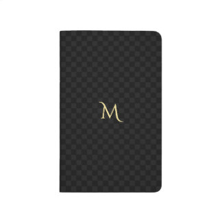 Custom Faux Gold Monogram Black Grey Check Pattern Journal