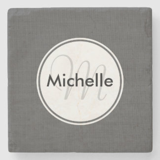 Custom Faux Grey Woven Cloth Stone Coaster