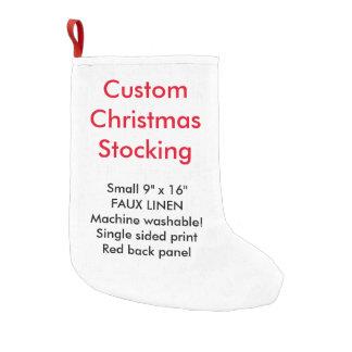 "Custom Faux Linen Christmas Stocking 9""x16"" 1-side Small Christmas Stocking"