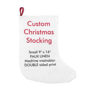 "Custom Faux Linen Christmas Stocking 9""x16"" 2-side Small Christmas Stocking"