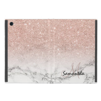 Custom faux rose pink glitter ombre white marble cases for iPad mini