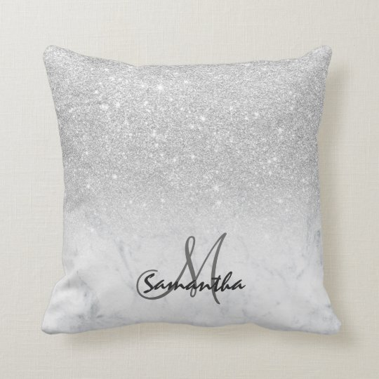 Custom faux silver glitter ombre white marble throw pillow