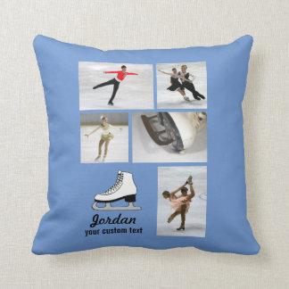 Custom Figure Skating 5 Photo Collage Skater Name Throw Pillow