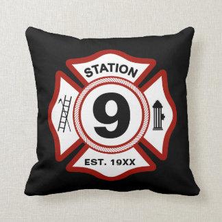 Custom Fire Station Number Maltese Cross Black Throw Pillow