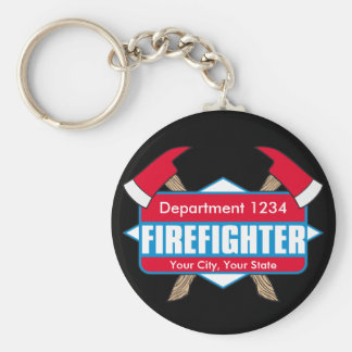 Custom Firefighter with Axes Keychain
