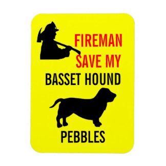 Custom Fireman Save My Basset Hound Fire Safety Magnet