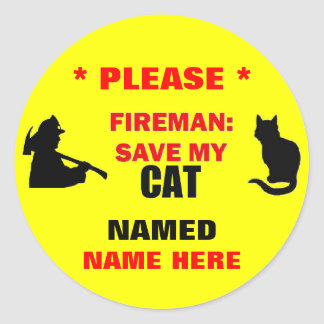 Custom Fireman Save My Cat Classic Round Sticker