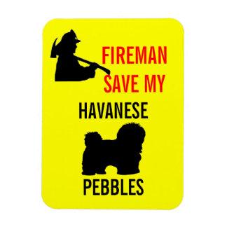 Custom Fireman Save My Havanese Fire Safety Rectangular Photo Magnet