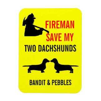 Custom Fireman Save My Two Dachshunds Fire Safety Rectangular Photo Magnet