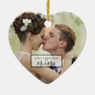Custom First Christmas as Mr and Mrs Photo Ceramic Ornament