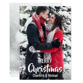 Custom First Christmas Married Engaged | PHOTO Card