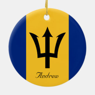 Custom Flag of Barbados Trident of Neptune Ceramic Ornament