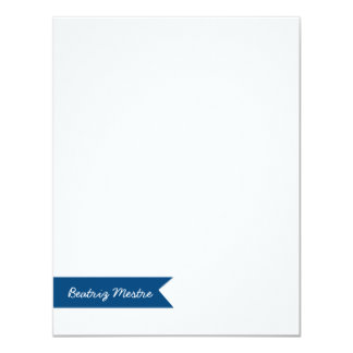 Custom Flat Note Card Blue Banner   Eco-Friendly