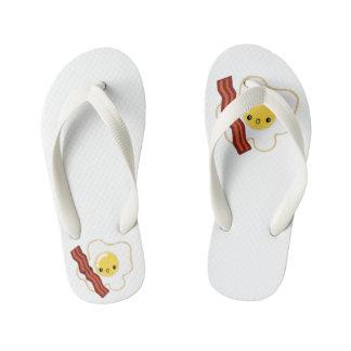 Custom Flip Flops, Kids Egg and Bacon Anime Art Kid's Flip Flops
