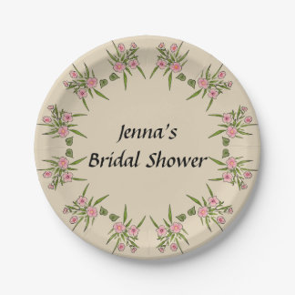 Custom Floral Bridal Shower Paper Plates