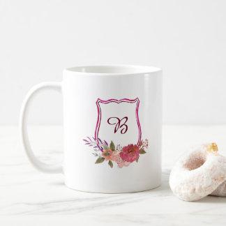 Custom Floral Crest Monogram Mug
