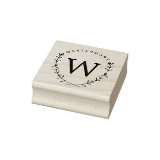 Custom Floral Laurel Monogram Rubber Address Stamp