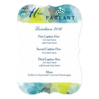 "Custom Floral Luncheon Program Card 5"" X 7"" Invitation Card"