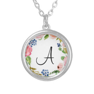 Custom Floral Monogram Silver Plated Necklace