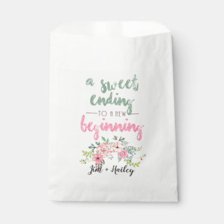 Custom Floral Paper Favor Bags - Sweet Ending