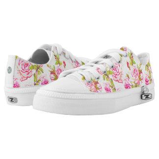Custom Floral Pattern Old Rose Monogram L T Shoes