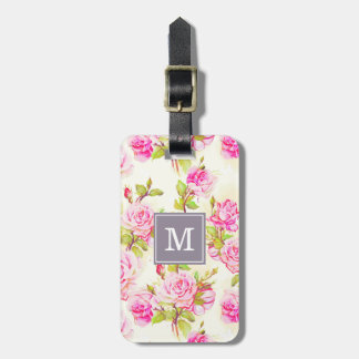 Custom Floral Pattern Old Rose Monogram L Tag