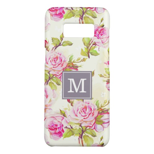 Custom Floral Pattern Old Rose Monogram Samsung C Case-Mate Samsung Galaxy S8 Case