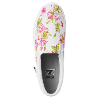 Custom Floral Pattern Old Rose Monogram Slip Shoes
