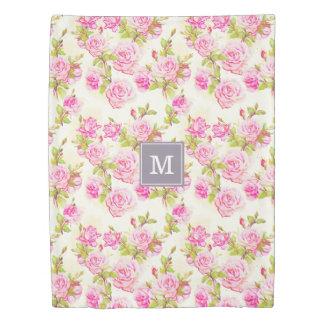 Custom Floral Pattern Old Roses Monogram Duvet C
