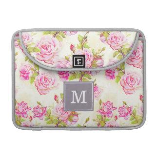 Custom Floral Pattern Old Roses Monogram MacSleeve Sleeve For MacBook Pro