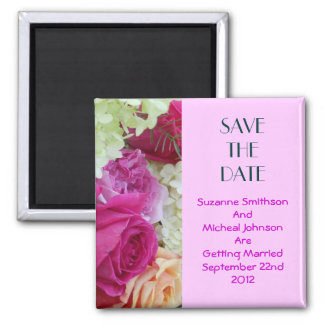 Custom Floral Pink Flowers Save The Date Wedding Square Magnet
