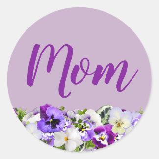 Custom Floral Purple Mom Classic Round Sticker