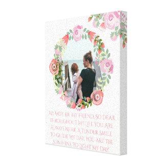 Custom floral wreath photo monogram canvas print