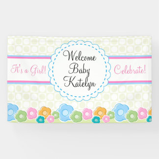 Custom Flower Garden Girl Baby Shower Banner