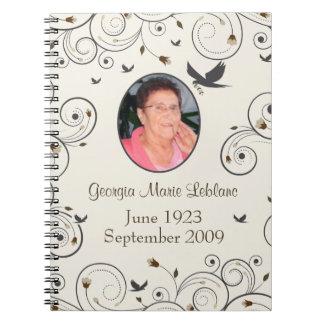 Custom Flowers and Swirls Memorial Guestbook Notebooks
