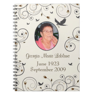 Custom Flowers and Swirls Memorial Guestbook Spiral Note Books
