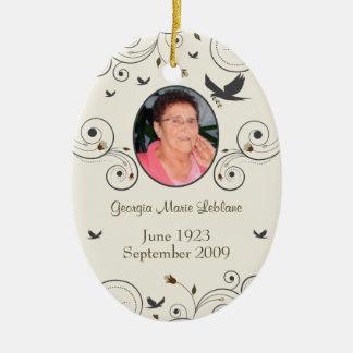 Custom Flowers and Swirls Memorial Keepsakes Poem Ceramic Ornament