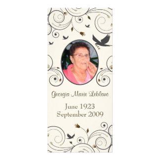Custom Flowers and Swirls Memorial Keepsakes Poem Rack Cards